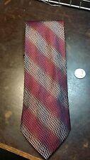 Kenneth Cole Red Brown Navy Stripe Designer Mens Necktie Free Shipping