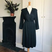 Vintage 80s Black Pleated Crossover BustBatwing Sleeve Flared Dress 12