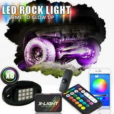 8x Blue-tooth Pod RGB-W LED Rock Light Offroad Wireless Remote Music Controller