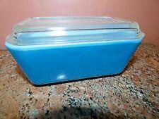 Vintage Pyrex Primary Colors Blue #502-B Refrigerator Leftover Dish w Lid