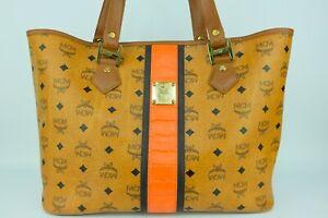 100% Authentic MCM Cognac Visetos Red Trim Large Shopper Shoulder Bag
