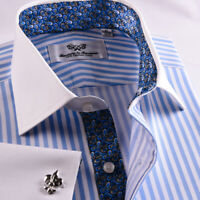 White & Blue Designer Striped Business Dress Shirt French Cuff Luxury Formal GQ