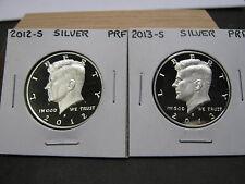 2012 S  &  2013 S SILVER  PROOF KENNEDY HALF DOLLARS