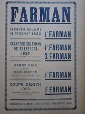 1924 PUB FARMAN GRAND PRIX COUPE ZENITH / AVION NIEUPORT ASTRA DIRIGEABLE AD
