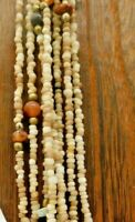 "Vintage Stone Chip Seed Bead Multi Brown Neutral Earth Bronze Tone 34"" Necklace"