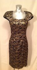 Vintage Leslie Fay Evenings Size 10 Black And Gold Cocktail Dress Rhinestones