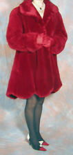 Red Sheared Beaver Fur Coat Excellent condition scalloped hem Large 18 /20