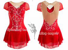 Ice Figure Skating Dress Rhythmic Gymnastics Twirling Competition Costume red