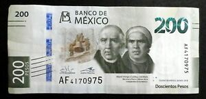 MEXICO 2018 : 200 Pesos Bank Note. Current Tender, Serial #AF4170975 New Design