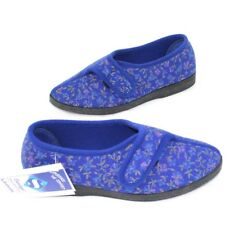 THE SHOE TAILOR Slippers 5 EEE Women Blue Hard Sole Floral Strap Wide Comfort