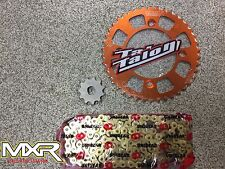 KTM SX 50 2014-2018 415 CHAIN AND SPROCKETS WITH AN ORANGE REAR SPROCKET