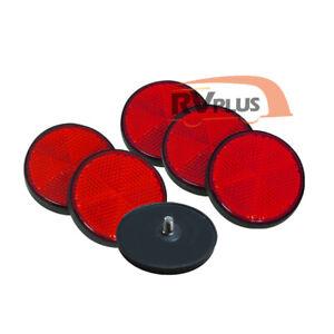 6XRound Red Reflector Screws Trailer Motorcycle Caravan RV Marker Bicycle Parts