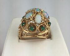 HUGE MUSEUM QUALITY ANTIQUE 14K SOLID GOLD Fire Opals Emerald Cocktail Ring 6.5