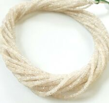 """Precious Natural White Sapphire Gemstone 2-4 MM Faceted Rondelle Stone 16"""" Beads"""