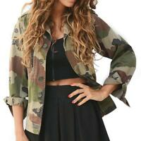 Vintage Vogue Womens Military Camo Classic Bomber Jacket Camouflage Coat Outwear