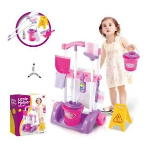 MY LITTLE HELPER Kids Cleaning Trolley Set 10pc Children Toy Broom Mop Brush UK