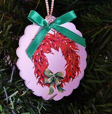 Chili Pepper Wreath Ornament Sandstone Creations Scalloped Oval