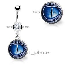 "Dragon Eye Dangle Belly Ring Navel Piercings CZ Gem 14ga 3/8"" 316L Body Jewelry"