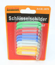 10 Schlüsselschilder Schlüsselanhänger zum Beschriften 5 Farben Bunt
