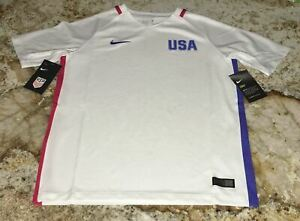 NIKE USA Womens National Soccer Team Olympic White S/S Jersey NEW Youth L 14/16