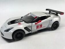 """New Kinsmart 5"""" Chevy Chevrolet Corvette C7 R Diecast Model Toy Car 1:36 White"""