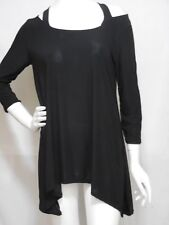 J&JL TRAVEL KNIT SLINKY COLD SHOULDER SHARK BITE  3/4SLV TUNIC   XL  SEXY BLACK