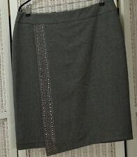 "RONIT ZILKHA Studded Pencil Skirt UK16 38"" Waist Grey Wrap-Style Dip Hem Lined"