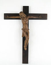 Antique Continental Carved Wood Crucifix circa 1890