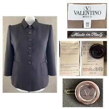 VALENTINO MISS V 48 US 14 Women's Brown Wool Crepe Button 3/4 Sleeve Jacket EUC