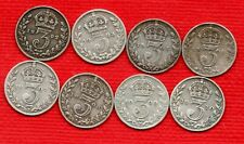 More details for 8 king edward vii, silver threepence coins 1902 - 1910 (no 1904). 3d job lot.