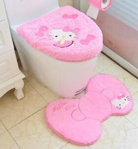 Cute Hello Kitty Soft U-Shaped Bath Toilet Lid & Seat Cover Set Warmer Pads 3pcs