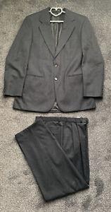 M&S St Michael Mens Suit Charcoal Chest 40 Trousers W34 L31 100% Pure Wool