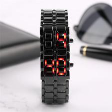 Fashion Black Full Metal Digital Lava Wrist Watch Iron Metal Red LED Simple Styl