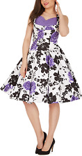01 FACTORY SECOND PURPLE FLORAL CLASSIC VINTAGE ROCKABILLY PROM DRESS SIZE 12 BN