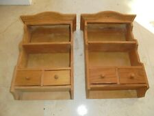 Pair of vintage miniature dressers, home made pine display shelves, wall mount