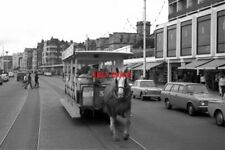 PHOTO  1971 ISLE OF MAN HORSE TRAM A HAPPY HORSE? THE ROOFED CARS WERE MUCH HEAV