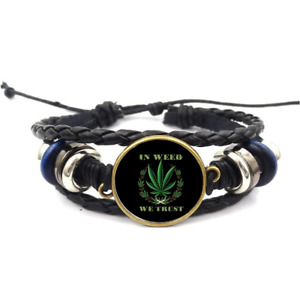 In Weed We Trust Glass Cabochon Bracelet Braided Leather Strap Bracelets