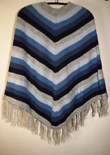 Ponchos Blau gestreifter schöner Poncho Alpakawolle Damen Indianer Ethno Neu