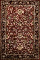All-Over Floral Burgundy/Black 5x8 Agra Oriental Area Rug Hand-Tufted Wool