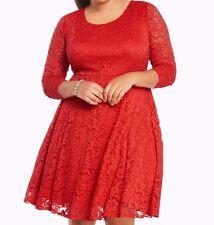 Torrid Floral Lace Skater Dress Red 00X Med Large 10 00 #32730