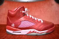 BOYS Size 5.5 Y RED/PINK Nike AIR JORDAN'S RETRO 5 VALENTINE'S DAY ATHLETIC