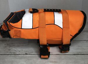 Dog Puppy Orange Reflective Life Jacket Rescue Safety Vest With Handle Size XS