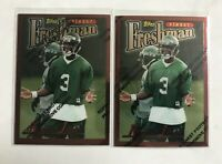 (2) 1996 KEYSHAWN JOHNSON TOPPS FINEST ROOKIE LOT RC NEW YORK JETS W/ COATING