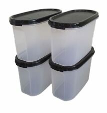 4X Tupperware Modular Mates Oval II 1.1L Black Snack Food Container Airtight New