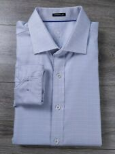 Bugatchi Uomo Classic Fit Men's Long Sleeve Blue Dress Shirt Flip Cuff Size XL
