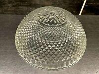 """Vtg Clear Glass Diamond Pattern Ceiling Light Shade Globe 8 3/4"""" OD Fitter"""