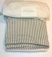 Restoration Hardware Vintage Ticking Stripe Bed Skirt Cotton Full Moss NEW $89