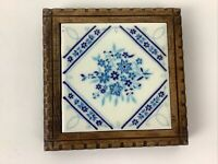 Blue and White Trivet Ceramic Tile Decorative Wood Frame 5.5x5Footed Hot Plate