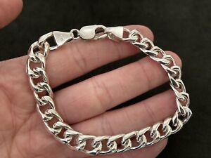 Mens Sterling Silver Curb Bracelet UK Hallmark.