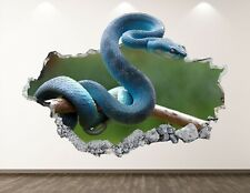 Blue Snake Decal Art Decor 3D Rattlesnake Sticker Mural Nursery Boys Gift BL34